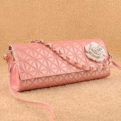 Dodder flower decorated fluorescent retro #pink #clutch