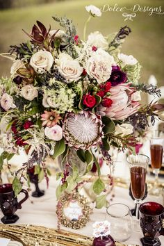 Marsala wedding table styling - marsala wedding inspiration | Dolce Designs