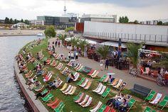 Capital Beach, Spree river bank, Berlin.