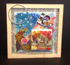 6x6 canvas, wax, metal, paper, plastic.  By Cheryl Jacobson