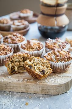 Grain-free morning glory muffins made with almond flour, coconut sugar, and your classic morning glory muffin add-ins. Gluten-free, paleo, and healthy! Healthy Muffin Recipes, Healthy Snacks For Diabetics, Healthy Muffins, Dog Treat Recipes, Easy Healthy Breakfast, Breakfast For Kids, Breakfast Recipes, Health Breakfast, Breakfast Muffins