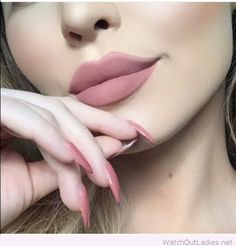 Pink nude lips and nails
