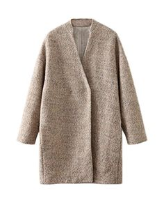 XIANKI Women Winter Woolen Blend V Neck Casual Loose Outwear Parka Coat L Khaki -- Want to know more, click on the image.