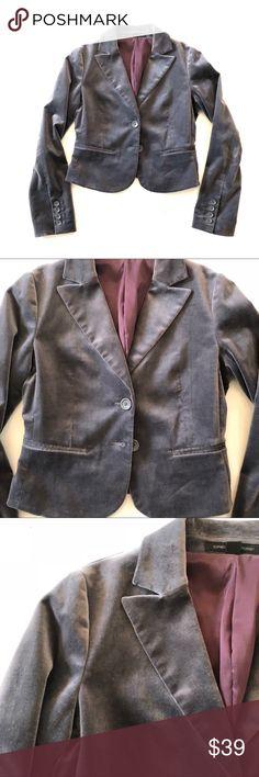 "NWOT Express Design Studio velvet blazer 6 NWOT Express Design Studio velvet blazer  Size 6 Chest 37"" Length 20"" Cotton Purplish gray Express Jackets & Coats Blazers"