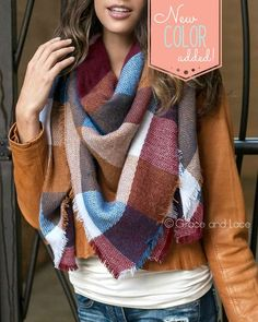 (**new item**) Blanket Scarf/Toggle Poncho in Multi Colorblock