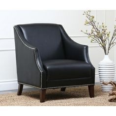 Abbyson Living Madison Black Bycast Leather Nailhead Trim Armchair