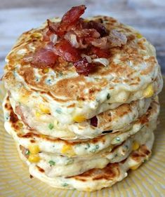 These Bacon and Corn Griddle Cakes are savory pancakes with added bacon, corn and cheese and topped with maple syrup- a unique, delicious breakfast recipe. Delicious Breakfast Recipes, Brunch Recipes, Yummy Food, Bacon Recipes, Savory Pancakes, Pancakes And Waffles, Paleo Pancakes, Griddle Recipes, Pancake Recipes