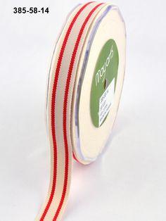 5/8 Inch Organic Cotton / Stripes Ribbon - May Arts Ribbon