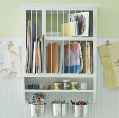 Using a dish rack to organize things. By: Cafe Cortalina