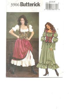 DRESS Skirt CORSET Vest Bustier Sewing Pattern ~ Boho GYPSY Peasant Wench Bar Maid ~ Medival Renaissance Faire Costume  Misses Size 12 14 16