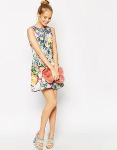 Image 4 ofASOS Skater Dress in Watercolour Daisy Print