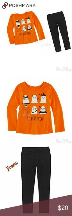 Girl's Adorable Outfit - NWT NWT. Ghostly outfit. Orange long sleeve top with ghost's on front. Black tights. Okie Dokie Bottoms