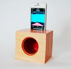 iPhone Speaker/Amplifier made from Reclaimed Skateboards by GenuineWoodworking