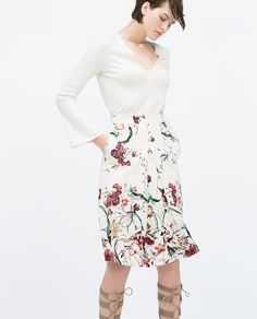 FRONT PLEAT PRINTED SKIRT - Skirts - WOMAN   ZARA United States