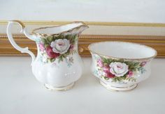 Vintage Royal Albert Celebration Mini Creamer & Open Sugar Bowl Made in England Bone China