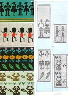 Pattern Library for Punch Card Knitters Filet Crochet Charts, Knitting Charts, Knitting Stitches, Knitting Designs, Baby Knitting, Diy Broderie, Intarsia Knitting, Crochet Dog Sweater, Swedish Weaving