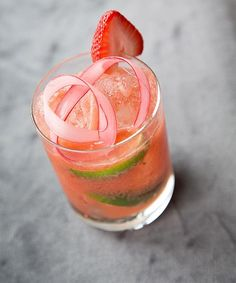 Make one of our favorite spring cocktails tonight. This is the Strawberry Rhubarb Caipirinha created by mixologist @johnnyswet for @theskylarknyc. Recipes for this drink and more at link in bio.   via DuJour MAGAZINE OFFICIAL INSTAGRAM - Celebrity  Fashion  Haute Couture  Advertising  Culture  Beauty  Editorial Photography  Magazine Covers  Supermodels  Runway Models