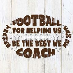 This product is a compressed zip of digital files (SVG, DXF, PNG) of our Thanks to Football Coach graphic. This zip file is for COMMERCIAL