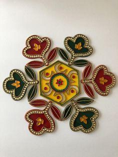 Diwali Special Beautiful Red Blue Green Kolam Alpona 11 pieces Re-Useable Kundan Rangoli Weddings New Home Rangoli Designs Diwali, Rangoli Designs Images, Rangoli Ideas, Thali Decoration Ideas, Diwali Decorations, Diwali Craft, Diwali Gifts, Acrylic Rangoli, Flower Rangoli
