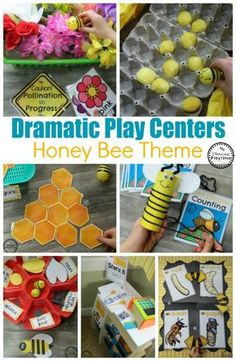 Dramatic Play Bees Looking for amazing Dramatic Play Centers for Spring? This preschool bee themed dramatic play centers pack is packed full of amazing science, math and literacy, fine motor, and other important preschool skills all through the magic of p Weather Activities For Kids, Bee Activities, Preschool Activities, Kindergarten Themes, Preschool Classroom, Toddler Preschool, Dramatic Play Area, Dramatic Play Centers, Preschool Dramatic Play