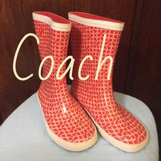 Coach Ursula Rain Boot Galoshes Amazing Find!! Coach Ursula Rain Boots in Coral NEVER WORN!!! Short style that hits mid calf is flattering on anyone. Cheerful print will help make the dreary days fun! True to size. Coach Shoes Winter & Rain Boots