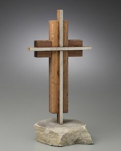 The Unity Cross® Steel and Weathered Solid Black Walnut, Solid Stone Base