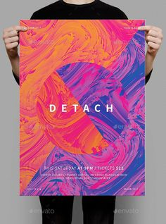 Detach Poster / Flyer — Photoshop PSD #dubstep #bright • Available here → https://graphicriver.net/item/detach-poster-flyer/19298058?ref=pxcr