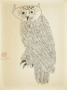 View Owl No. 1 By Ben Shahn; Lithograph on Arches paper; Access more artwork lots and estimated & realized auction prices on MutualArt. Art And Illustration, Illustrations, Owl Art, Bird Art, Line Drawing, Painting & Drawing, Ben Shahn, Collages, Timorous Beasties