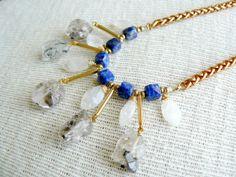 Beaded Bib Statement Necklace  Diamond Bib by EtymologyJewelry, $90.00
