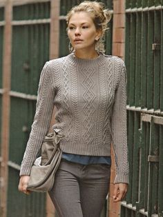 Rowan knitting patterns, Designer Knits By Sarah Hatton & Martin Storey, Twisted Cable Sweater, from Laughing Hens