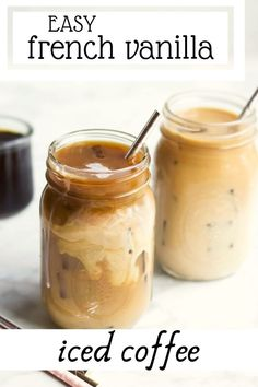 French Vanilla Iced Coffee - Need a pick-me-up for your busy morning? This FRENCH VANILLA ICED COFFEE is the perfect grab & go drink. Creamy and delicious, it takes only a few minutes to prep! Homemade Iced Coffee, Iced Coffee At Home, Best Iced Coffee, Iced Coffee Drinks, Coffee Drink Recipes, Easy Coffee, Starbucks Recipes, Tea Recipes, Coffee Coffee