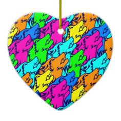 Modern Neon Pink Teal Howling Wolves Pop Pattern Christmas Ornament