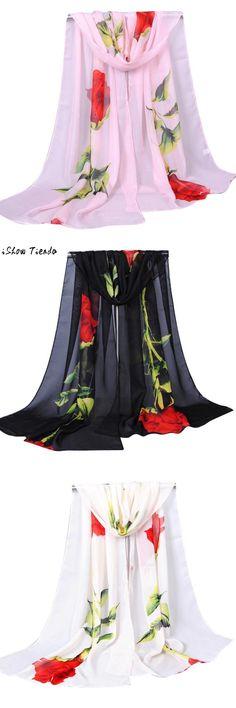 Fashion Silk Scarf Women Rose Long Soft Wrap Scarf Ladies Shawl Chiffon Scarf Scarves New Design Printed echarpes foulards femme