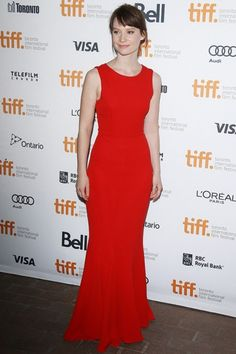 Although Mia Wasikowska's hair and makeup were a little blah, her red Dior dress at the the Only Lovers Left Alive premiere was minimalism at its best #tiff13
