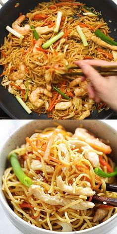 Easy Chow Mein recipe with Chinese egg noodles stir fried with chicken, shrimp and vegetables. This is an authentic chow mein noodles recipe Chinatown style. Healthy Chicken Recipes, Easy Healthy Recipes, Beef Recipes, Easy Meals, Cooking Recipes, Tai Food Recipes, Vegetarian Recipes, Indian Food Recipes, Asian Recipes