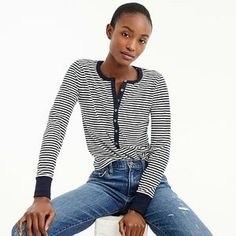 4a97501e0a Striped henley T-shirt women t-shirts & tank tops c