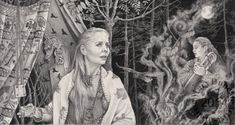 """The Seer"" a pencil drawing by Melissa Mary Duncan. A viking prophetess and her vision"