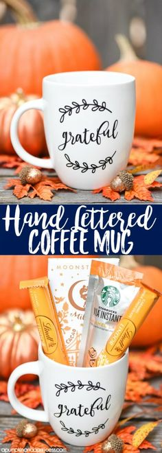 Hand Lettered coffee mug gift idea from MichaelsMakers A Pumpkin And A Princess