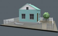 Low poly house #3d #c4d