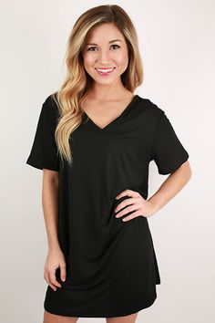 PIKO V-Neck Shift Dress in Black $32