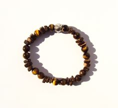 Tigers Eye Beaded Bracelet For Men - OMEBM.COM  LUXE PURE WOOD, PAIRED WITH SEMI-PRECIOUS TIGERS EYE GEMSTONES. THIS BEADED BRACELET FOR MEN WAS DESIGNED FOR THE MODEL MAN.