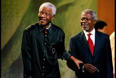 As part of Nelson Mandela's 89th birthday celebration, the man of the hour stands with guest lecturer former United Nations Secretary-General Kofi Annan at the 5th annual Nelson Mandela Lecture in Johannesburg in 2007.