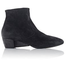 Marsèll Women's Suede Wedge-Heel Ankle Boots (£320) ❤ liked on Polyvore featuring shoes, boots, ankle booties, black, black ankle boots, black leather booties, short black boots, black ankle booties and black bootie boots
