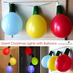 Whether hosting a holiday party, Tacky Christmas party or just want to go BIG… these Giant Balloon Christmas Lights and Ornaments are perfect decorations! christmas party How to make Giant Balloon Christmas Lights Tacky Christmas Party, Christmas Party Ideas For Teens, Diy Christmas Lights, Christmas Balloons, Peanuts Christmas, Decoration Christmas, Decorating With Christmas Lights, Kids Christmas, Balloon Christmas Decorations