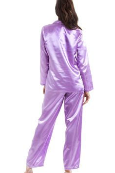 ef3f219e04 Luxury Pink Stunning Silk Feel Satin Pyjama Set Features A Long Sleeved  Button Up Top Full Length Pyjama Bottoms With Elasticated Waist Machine  Washable 40 ...