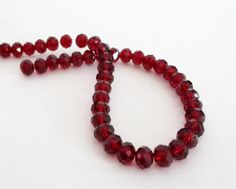 Red Crystal Beads  Faceted Crystal Rondelle Beads  by BijiBijoux