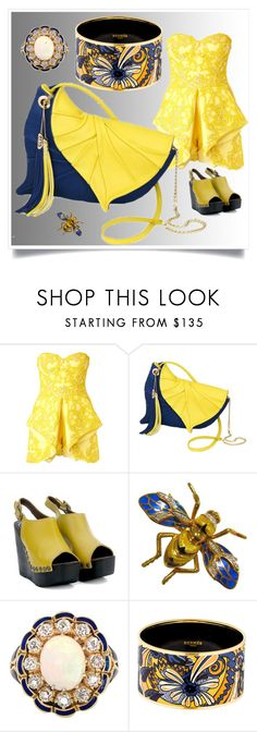"""Yellow with Diana Ulanova"" by airrazor23 ❤ liked on Polyvore featuring Mikael D, Jeffrey Campbell, Hermès and dianaulanova"