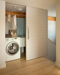 Have small laundry room? Got a boring laundry room? Need small laundry room design ideas? Laundry Room Doors, Basement Laundry, Small Laundry Rooms, Laundry Closet, Laundry Room Design, Laundry Area, Laundry Center, Room Closet, Closet Doors