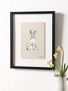 Framed Facing Hare Print