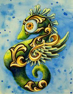 seahorse paintings - big eyes